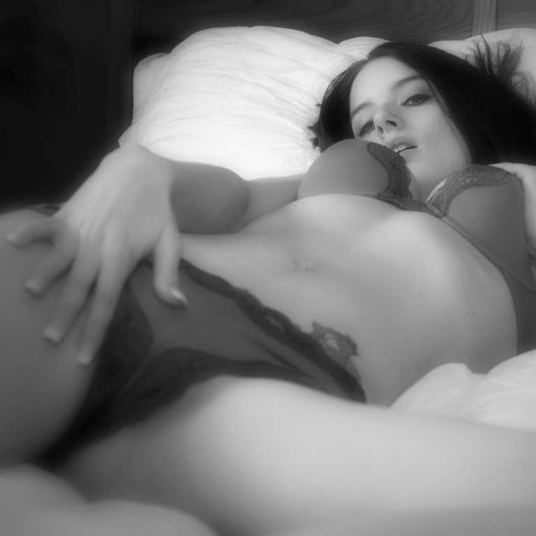 Black and white art of Krissy Love's legs spread