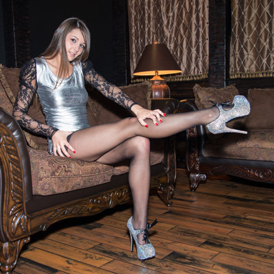Emma shows off her pantyhose legs