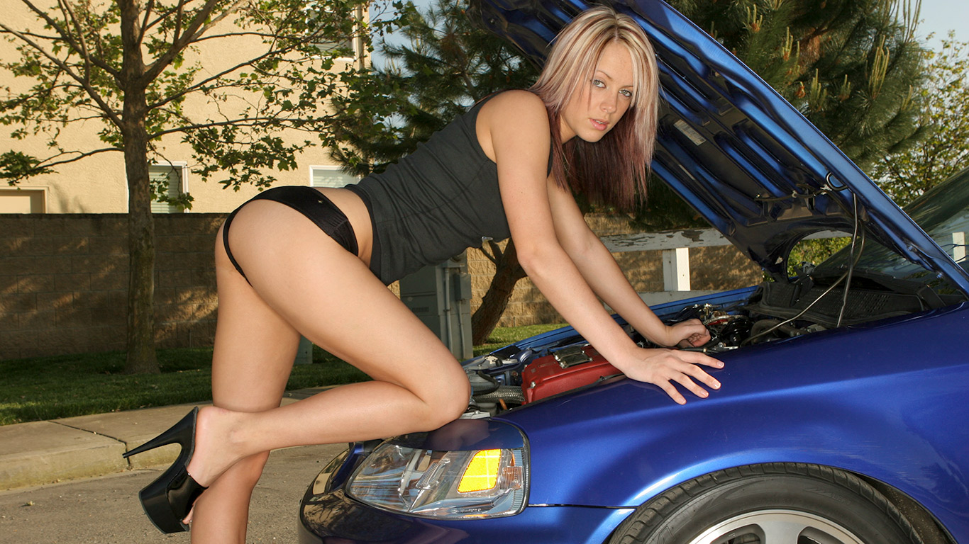 sexy pose under car hood